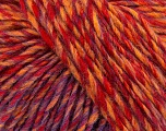 Fiber Content 65% Acrylic, 25% Wool, 10% Viscose, Yellow, Red, Lilac, Brand ICE, Yarn Thickness 4 Medium  Worsted, Afghan, Aran, fnt2-40011