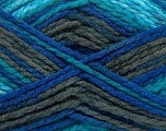 Easy knit bulky yarn. Note that this is a self-stripping yarn. Please see package photos for the color change. Machine washable and dryable. Fiber Content 100% Acrylic, Turquoise, Brand Ice Yarns, Grey, Blue, Yarn Thickness 5 Bulky  Chunky, Craft, Rug, fnt2-42547