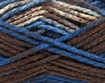 Easy knit bulky yarn. Note that this is a self-stripping yarn. Please see package photos for the color change. Machine washable and dryable. Fiber Content 100% Acrylic, Purple, Brand Ice Yarns, Cream, Brown, Yarn Thickness 5 Bulky  Chunky, Craft, Rug, fnt2-42548