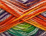 Easy knit bulky yarn. Note that this is a self-stripping yarn. Please see package photos for the color change. Machine washable and dryable. Fiber Content 100% Acrylic, Yellow, Purple, Pink, Orange, Brand Ice Yarns, Green, Yarn Thickness 5 Bulky  Chunky, Craft, Rug, fnt2-42549