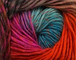 Fiber Content 100% Wool, Turquoise, Orange, Brand Ice Yarns, Fuchsia, Camel, Yarn Thickness 4 Medium  Worsted, Afghan, Aran, fnt2-43067