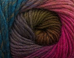 Fiber Content 100% Wool, Teal, Pink Shades, Maroon, Brand Ice Yarns, Green, Yarn Thickness 4 Medium  Worsted, Afghan, Aran, fnt2-43068
