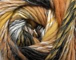 Fiber Content 60% Wool, 40% Acrylic, Brand Ice Yarns, Grey, Cream, Cafe Latte, Black, Yarn Thickness 4 Medium  Worsted, Afghan, Aran, fnt2-46283