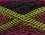 This is a self-striping yarn. Please see package photo for the color combination. Fiber Content 100% Acrylic, Purple, Brand Ice Yarns, Green, Burgundy, Black, Yarn Thickness 3 Light  DK, Light, Worsted, fnt2-46815