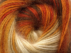 Fiber Content 60% Premium Acrylic, 20% Mohair, 20% Wool, Orange, Brand ICE, Gold, Cream, Brown, Yarn Thickness 2 Fine  Sport, Baby, fnt2-50294