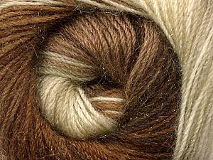 Fiber Content 57% Premium Acrylic, 3% Metallic Lurex, 20% Wool, 20% Mohair, Brand ICE, Cream, Brown Shades, Yarn Thickness 2 Fine  Sport, Baby, fnt2-50317