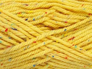 Fiber Content 72% Acrylic, 3% Viscose, 25% Wool, Yellow, Brand ICE, Yarn Thickness 6 SuperBulky  Bulky, Roving, fnt2-51500