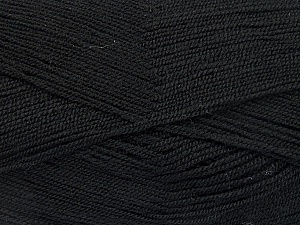Very thin yarn. It is spinned as two threads. So you will knit as two threads. Yardage information is for only one strand. Fiber Content 100% Acrylic, Brand ICE, Black, Yarn Thickness 1 SuperFine  Sock, Fingering, Baby, fnt2-52040