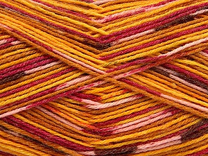 Fiber Content 50% Superwash Merino Wool, 25% Bamboo, 25% Polyamide, Yellow, Pink, Orange, Brand ICE, Gold, Yarn Thickness 1 SuperFine  Sock, Fingering, Baby, fnt2-52391