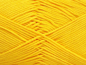 Baby cotton is a 100% premium giza cotton yarn exclusively made as a baby yarn. It is anti-bacterial and machine washable! Fiber Content 100% Giza Cotton, Yellow, Brand ICE, Yarn Thickness 3 Light  DK, Light, Worsted, fnt2-52560