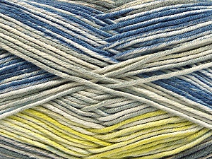 Fiber Content 50% Cotton, 50% Acrylic, Yellow, Brand ICE, Grey Shades, Cream, Blue, Yarn Thickness 2 Fine  Sport, Baby, fnt2-53760