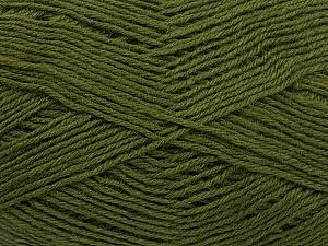 Fiber Content 60% Merino Wool, 40% Acrylic, Brand ICE, Dark Khaki, Yarn Thickness 2 Fine  Sport, Baby, fnt2-53826