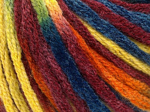 Fiber Content 50% Wool, 50% Acrylic, Yellow, Orange, Brand ICE, Burgundy, Blue, Yarn Thickness 6 SuperBulky  Bulky, Roving, fnt2-54388
