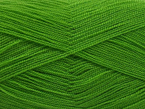 Very thin yarn. It is spinned as two threads. So you will knit as two threads. Yardage information is for only one strand. Fiber Content 100% Acrylic, Brand ICE, Forest Green, Yarn Thickness 1 SuperFine  Sock, Fingering, Baby, fnt2-54686