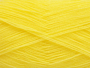 Very thin yarn. It is spinned as two threads. So you will knit as two threads. Yardage information is for only one strand. Fiber Content 100% Acrylic, Yellow, Brand ICE, Yarn Thickness 1 SuperFine  Sock, Fingering, Baby, fnt2-54698