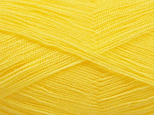 Very thin yarn. It is spinned as two threads. So you will knit as two threads. Yardage information is for only one strand. Fiber Content 100% Acrylic, Yellow, Brand ICE, Yarn Thickness 1 SuperFine  Sock, Fingering, Baby, fnt2-54699