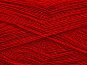 Very thin yarn. It is spinned as two threads. So you will knit as two threads. Yardage information is for only one strand. Fiber Content 100% Acrylic, Brand ICE, Dark Red, Yarn Thickness 1 SuperFine  Sock, Fingering, Baby, fnt2-54705