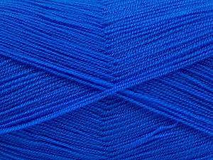 Very thin yarn. It is spinned as two threads. So you will knit as two threads. Yardage information is for only one strand. Fiber Content 100% Acrylic, Brand ICE, Blue, Yarn Thickness 1 SuperFine  Sock, Fingering, Baby, fnt2-54720