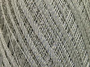 Ne: 10/3 Nm: 17/3 Fiber Content 96% Mercerised Cotton, 4% Metallic Lurex, Silver, Light Grey, Brand ICE, Yarn Thickness 1 SuperFine  Sock, Fingering, Baby, fnt2-54880