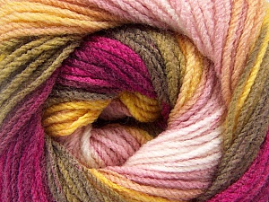Fiber Content 100% Acrylic, Yellow, Pink Shades, Khaki, Brand ICE, Burgundy, Yarn Thickness 3 Light  DK, Light, Worsted, fnt2-56087