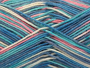 Fiber Content 100% Acrylic, Turquoise, Pink, Brand ICE, Cream, Blue Shades, Yarn Thickness 2 Fine  Sport, Baby, fnt2-57368