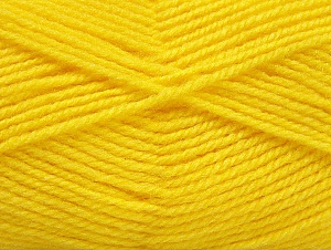 Fiber Content 50% Wool, 50% Acrylic, Yellow, Brand ICE, Yarn Thickness 4 Medium  Worsted, Afghan, Aran, fnt2-58378