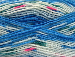 Fiber Content 75% Acrylic, 25% Wool, White, Brand ICE, Blue, fnt2-58388