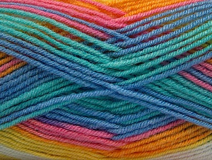 Fiber Content 75% Acrylic, 25% Wool, Yellow, White, Turquoise, Pink, Brand ICE, Blue, fnt2-58394