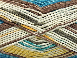 Fiber Content 50% Premium Acrylic, 50% Cotton, Yellow, Turquoise, Brand ICE, Cream, Brown, Yarn Thickness 2 Fine  Sport, Baby, fnt2-58415