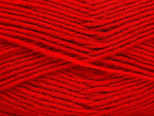 Fiber Content 50% Wool, 50% Acrylic, Red, Brand ICE, Yarn Thickness 4 Medium  Worsted, Afghan, Aran, fnt2-58564