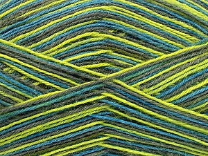 Fiber Content 75% Superwash Wool, 25% Polyamide, Turquoise, Light Green, Brand ICE, Grey, Yarn Thickness 1 SuperFine  Sock, Fingering, Baby, fnt2-59495