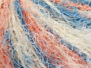 Fiber Content 40% Viscose, 30% Wool, 30% Polyamide, White, Salmon, Brand ICE, Blue, Yarn Thickness 5 Bulky  Chunky, Craft, Rug, fnt2-59588