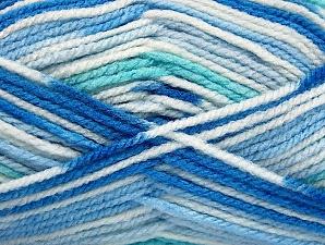Fiber Content 100% Acrylic, White, Brand ICE, Blue Shades, Yarn Thickness 4 Medium  Worsted, Afghan, Aran, fnt2-59727