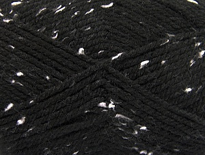 Fiber Content 95% Acrylic, 5% Viscose, White, Brand ICE, Black, Yarn Thickness 4 Medium  Worsted, Afghan, Aran, fnt2-59760