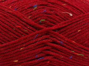 Fiber Content 95% Acrylic, 5% Viscose, Red, Rainbow, Brand ICE, Yarn Thickness 4 Medium  Worsted, Afghan, Aran, fnt2-59765
