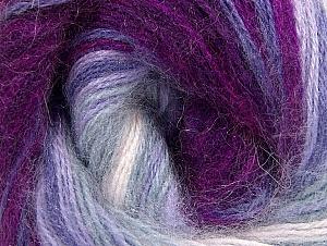 Fiber Content 60% Premium Acrylic, 20% Angora, 20% Wool, White, Purple, Lilac Shades, Brand ICE, Fuchsia, Yarn Thickness 2 Fine  Sport, Baby, fnt2-60236