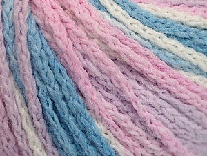 Fiber Content 50% Polyamide, 50% Acrylic, White, Pink, Light Lilac, Light Blue, Brand ICE, Yarn Thickness 4 Medium  Worsted, Afghan, Aran, fnt2-60366
