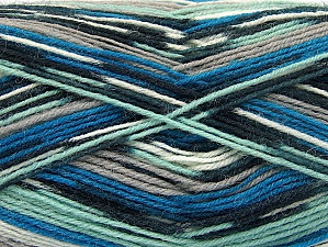 Fiber Content 75% Superwash Wool, 25% Polyamide, Mint Green, Brand ICE, Grey Shades, Blue, Yarn Thickness 1 SuperFine  Sock, Fingering, Baby, fnt2-60905