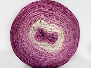 Fiber Content 95% Acrylic, 5% Metallic Lurex, White, Orchid Shades, Brand ICE, Yarn Thickness 3 Light  DK, Light, Worsted, fnt2-61258