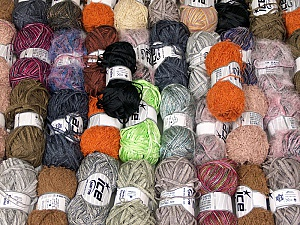Fancy Yarns This mixed lot includes a total of 2000 gr (70.5 oz.) yarn. There is no standard for ball weight. Also disregard any information on the labels. You will get what you see in the photo. Brand ICE, fnt2-62161