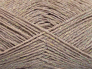 Fiber Content 75% Viscose, 25% Metallic Lurex, Irridescent, Brand ICE, Dark Beige, fnt2-62234