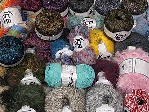 Fancy Yarns This mixed lot includes a total of 2000 gr (70.5 oz.) yarn. There is no standard for ball weight. Also disregard any information on the labels. You will get what you see in the photo. Brand ICE, fnt2-62340