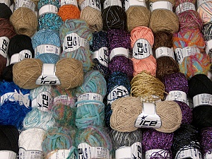 Fancy Yarns This mixed lot includes a total of 2000 gr (70.5 oz.) yarn. There is no standard for ball weight. Also disregard any information on the labels. You will get what you see in the photo. Brand ICE, fnt2-62479