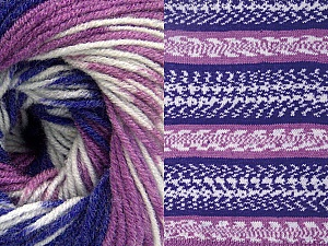 Fiber Content 70% Acrylic, 30% Wool, White, Purple, Lilac, Brand ICE, Yarn Thickness 3 Light  DK, Light, Worsted, fnt2-63211