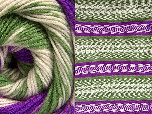 Fiber Content 70% Acrylic, 30% Wool, Purple, Brand ICE, Green, Cream, Yarn Thickness 3 Light  DK, Light, Worsted, fnt2-63218