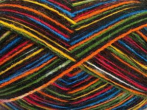 Fiber Content 50% Acrylic, 50% Wool, Rainbow, Brand ICE, Black, fnt2-63963