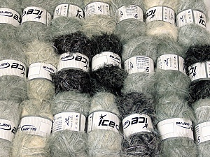 Eyelash Blends This mixed lot includes a total of 2000 gr (70.5 oz.) yarn. There is no standard for ball weight. Also disregard any information on the labels. You will get what you see in the photo. Brand ICE, fnt2-64328