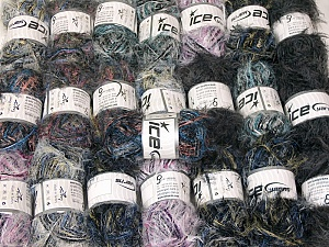 Eyelash Blends This mixed lot includes a total of 2000 gr (70.5 oz.) yarn. There is no standard for ball weight. Also disregard any information on the labels. You will get what you see in the photo. Brand ICE, fnt2-64331
