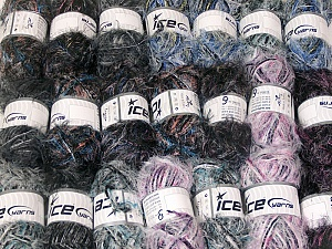 Eyelash Blends This mixed lot includes a total of 2000 gr (70.5 oz.) yarn. There is no standard for ball weight. Also disregard any information on the labels. You will get what you see in the photo. Brand ICE, fnt2-64334