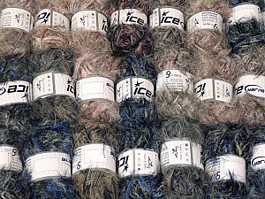 Eyelash Blends This mixed lot includes a total of 2000 gr (70.5 oz.) yarn. There is no standard for ball weight. Also disregard any information on the labels. You will get what you see in the photo. Brand ICE, fnt2-64337